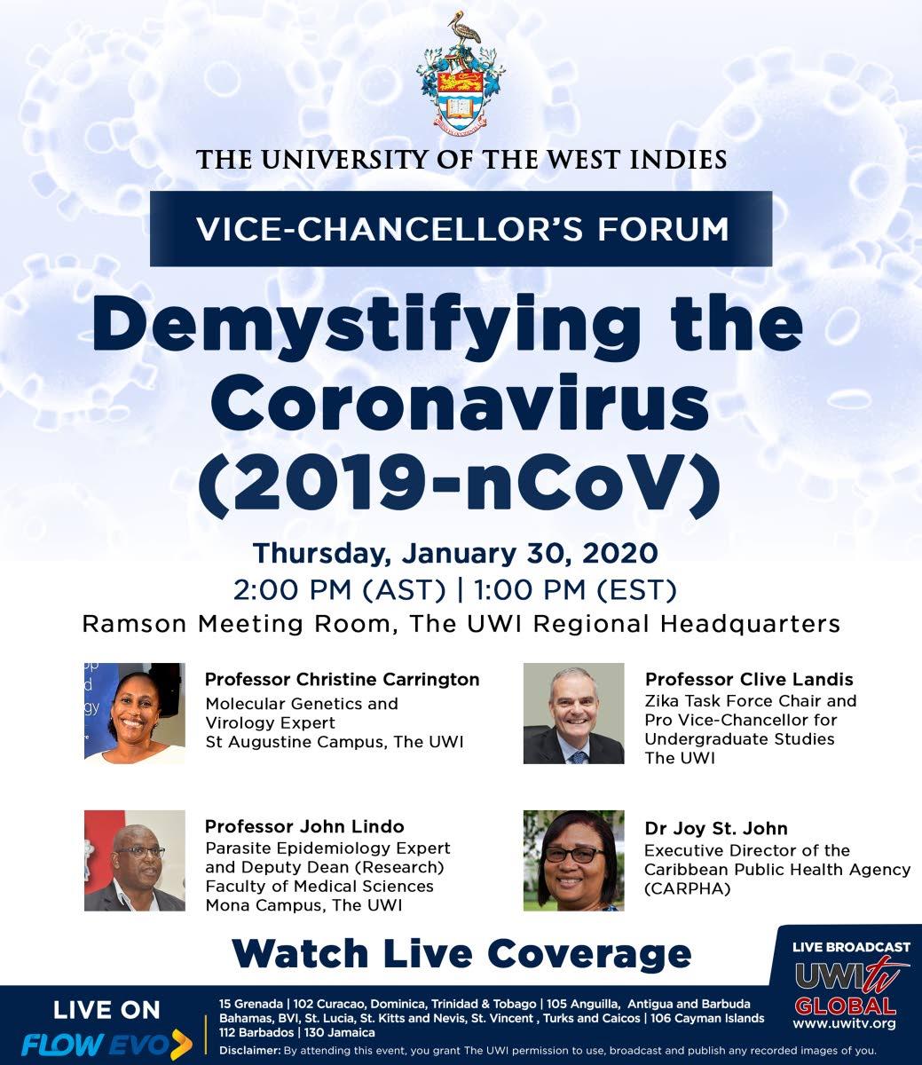 UWI hosts forum today on coronavirus (2019-nCoV)